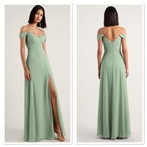 NWT Jenny Yoo Prima Eucalyptus Off Shoulder Dress